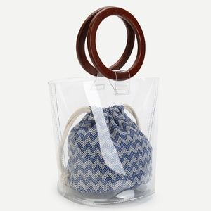 Handbags - Clear Wooden Handled Tote